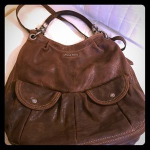 "MiuMiu 2-Way Brown Kid Bag w/Silver & ""Gems"""